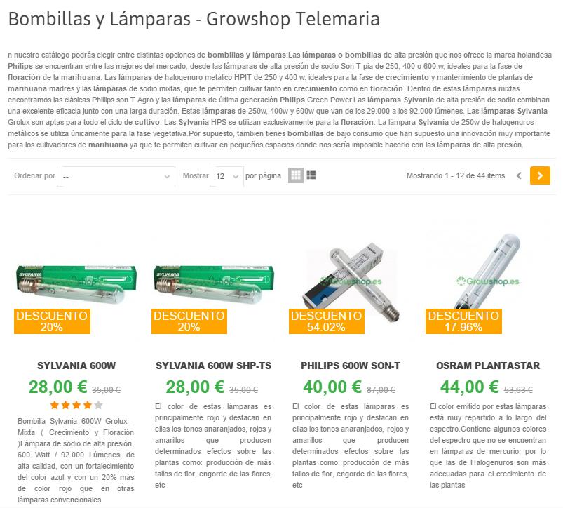 Catálogo de bombillas y lámparas de GrowShop con precios Septiembre 2016